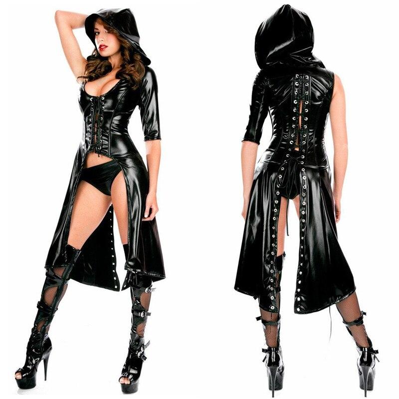 2018 Women Sexy Black Wet Look Dress Catsuit PVC Patent Leather Fetish Latex Bodysuit Costume Erotic Lace-up Clubwear Dress