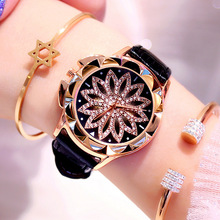 купить Luxury Brand Rose Gold Women Watches Fashion Casual Crystal Dress Wristwatch Leather Strap Quartz Watch Female Clock Reloj Mujer дешево
