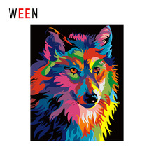 WEEN Colorful Wolf Diy Painting By Numbers Animal Oil On Canvas Abstract Cuadros Decoracion Acrylic Wall Art Home Decor