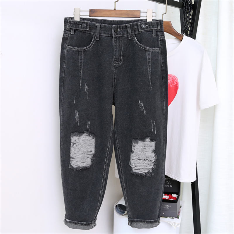 5XL Ripped Boyfriend Jeans For Women Hole Harem Pants Plus Size High Waist Jeans Mujer Casual Streetwear Vintage Mom Jeans Q1255