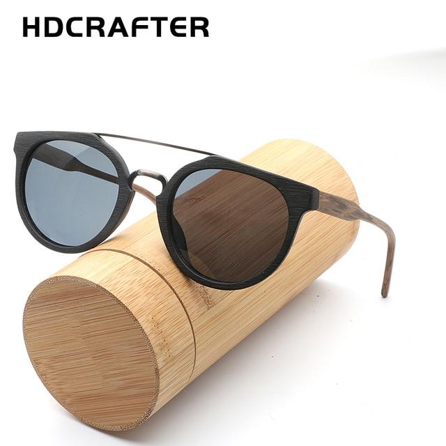 7bdaa21daec HDCRAFTER Retro Round Polarized Wooden Sunglasses Mens Classic Brand  Designer Original Wood Sun Glasses Women Men Oculos De Sol