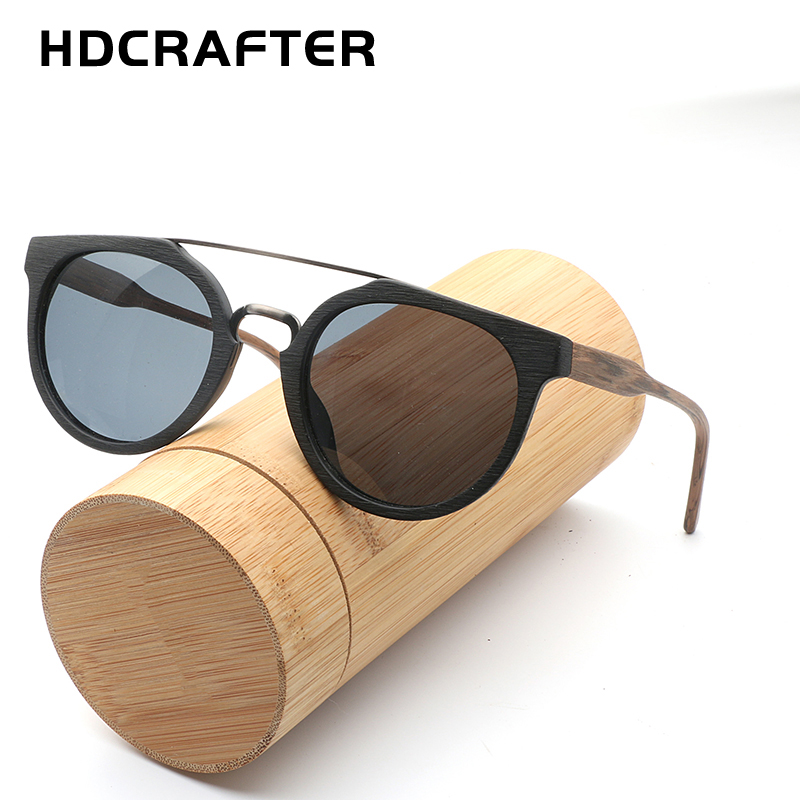 HDCRAFTER Retro Round Polarized Wooden Sunglasses Mens Classic Brand Designer Original Wood Sun Glasses Women Men Oculos De Sol
