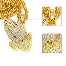 2016 Watch New Praying Hands Pendant Statement Necklace Mens 18k Gold Iced Out Prayer Jesus Hiphop Bling Necklace Women Men Gift