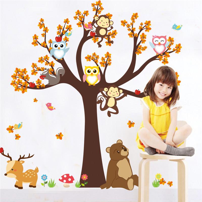 HTB1lWPHPpXXXXcbaXXXq6xXFXXX4 - Jungle Forest Tree Animal Owl Monkey Bear Deer Wall Stickers For Kids Room