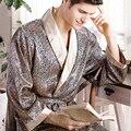 Batas Pijamas Albornoz Masculina 2016 Nuevos Hombres Reales de Lujo Geométrica V-cuello de Imitación de Seda ropa de Dormir de Punto de La Manga Completa Ropa de Dormir