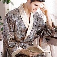 Pijamas Male 2016 New Real Men Luxury Bathrobe Geometric Robes V Neck Imitation Silk Knitted Sleepwear