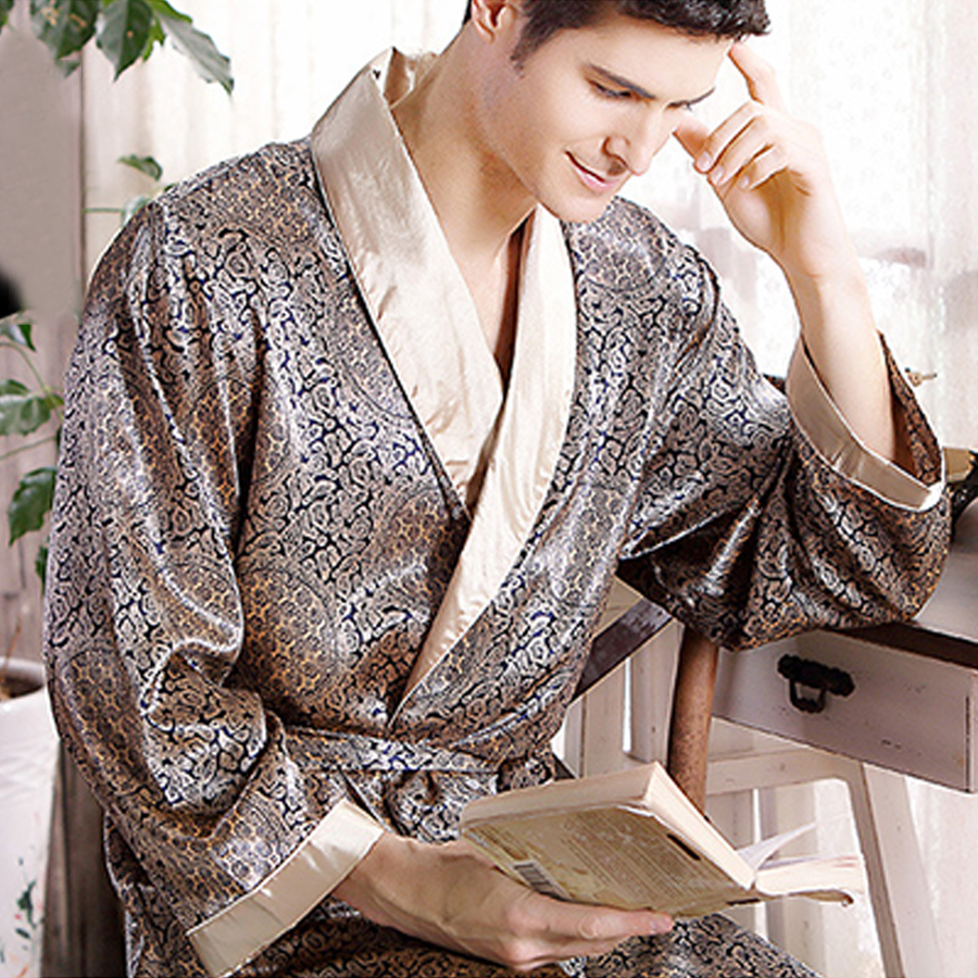 Pijamas Male 2016 New Real Men Luxury Bathrobe Geometric Robes V-neck Imitation Silk Knitted Sleepwear Full Sleeve Nightwear