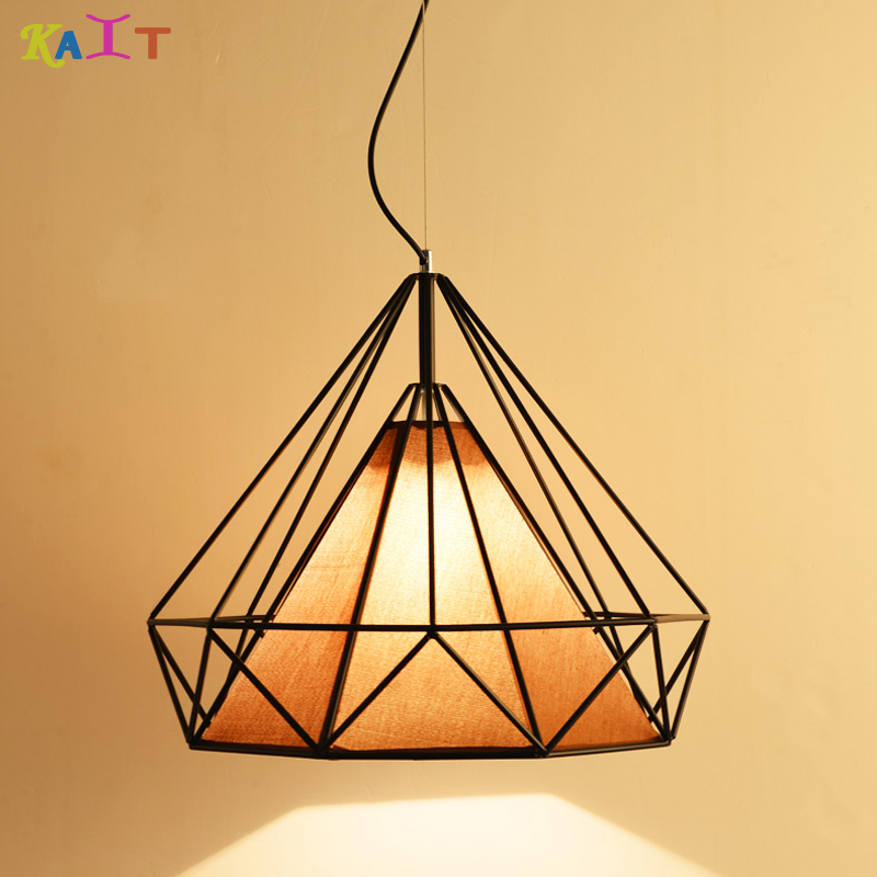 KIAT Modern Industrial Vintage Cage LED Pendant Light Iron Art Diamond E27 bulbs