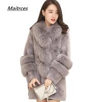 Зимние женские дубленки высокого качества женские теплые пальто из искусственного меха лисы меховые воротники кнопки тонкий жакет из меха