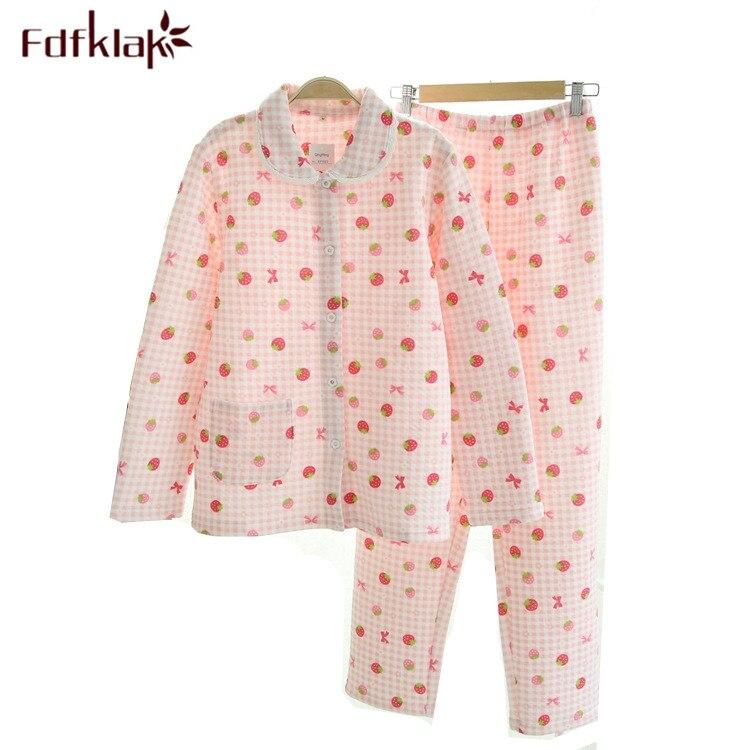 Haute qualité chaud coton maison vêtements Pijama femmes à manches longues pyjama imprimé pour hiver vêtements de nuit ensemble mignon pyjamas Q210