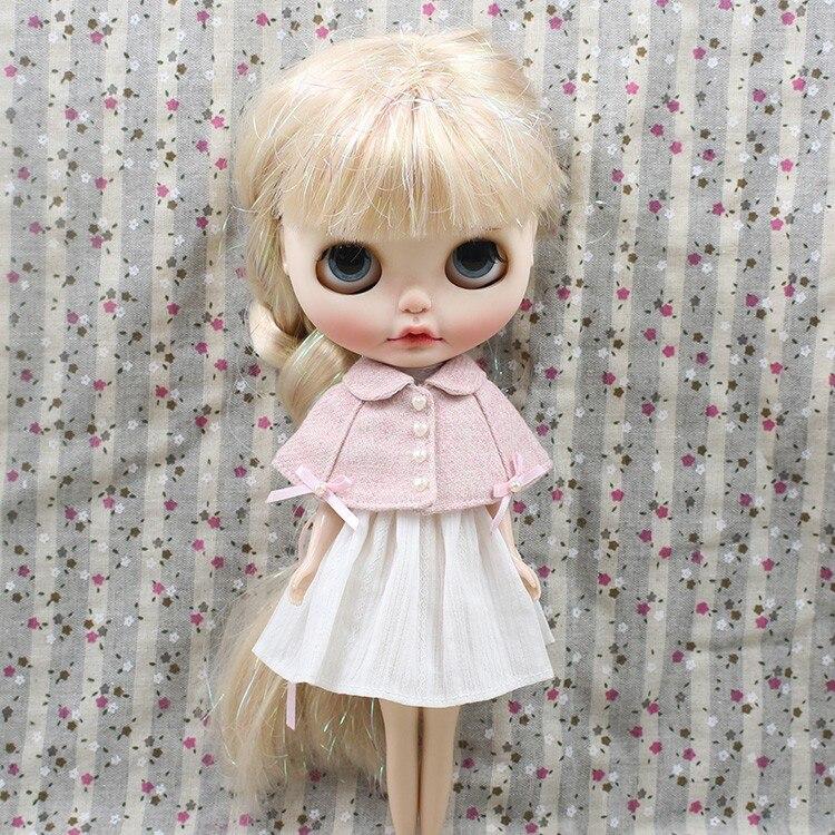 Neo Blythe Doll Pink White Cloak Dress 2