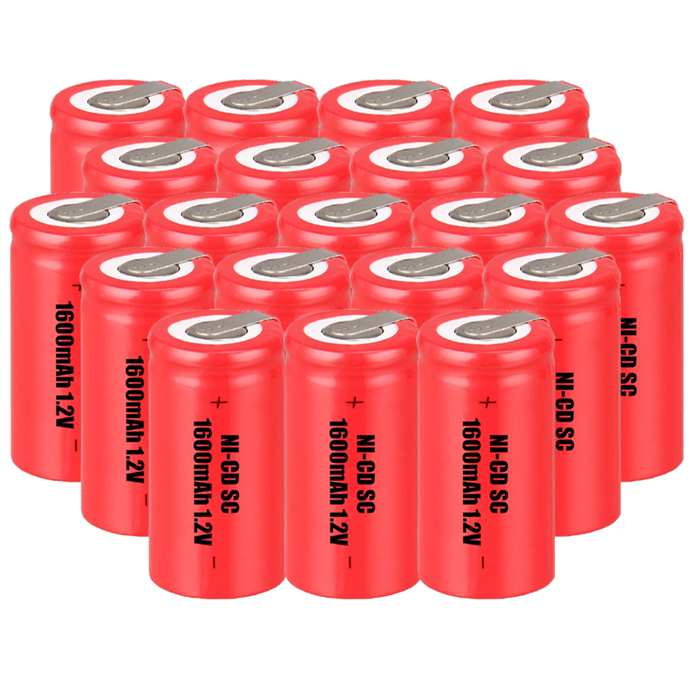 Lowest price 20 piece SC battery 1.2v batteries rechargeable 1600mAh nicd battery for power tools akkumulator