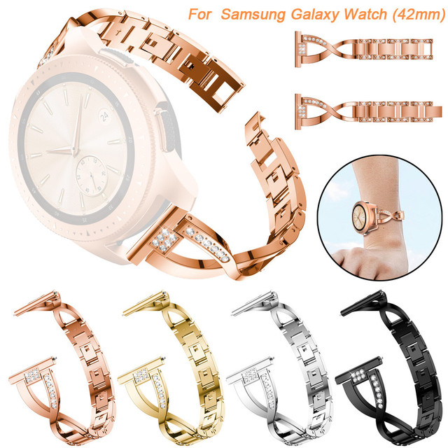 42mm Watch band For Samsung Galaxy Watch Luxury Replacement Metal Crystal Watch