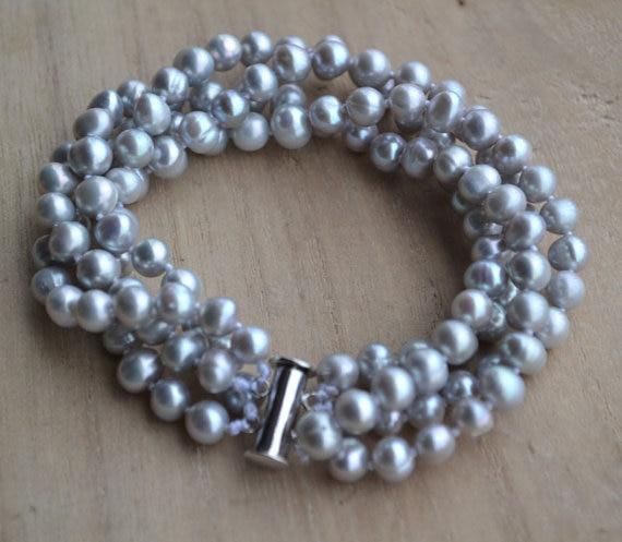 10x 6-7mm 7-8mm argent gris perles d/'eau douce ovale de riz avec un trou 1mm