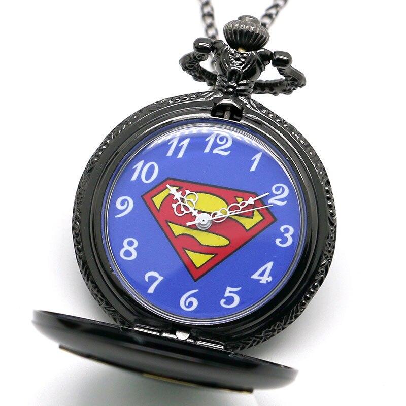 2016 Yeni Varış Klasik Comic Superman Kuvars Pocket Watch Erkekler - Cep Saatleri - Fotoğraf 4
