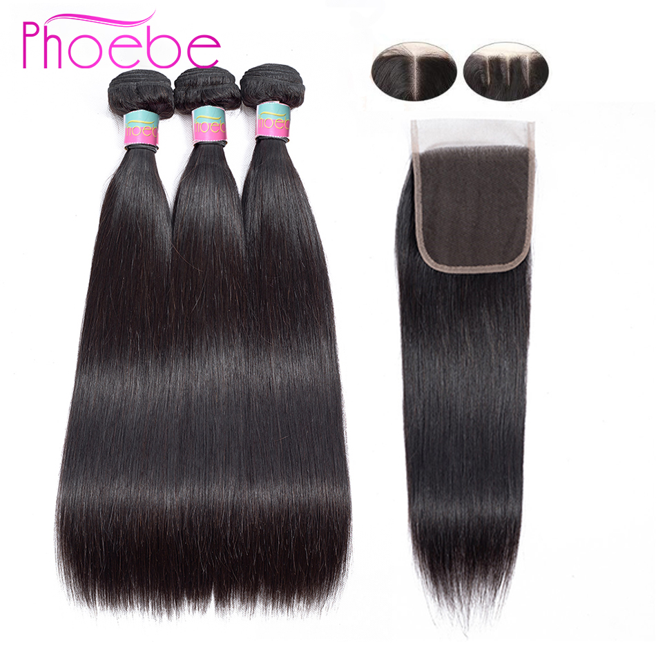 Phoebe 100 Human Hair Bundles With Closure Brazilian Straight Hair 3 Bundles With Closure Hair Extension
