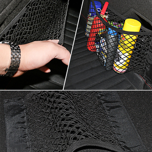Image 5 - Mesh Trunk Car Storage Organizer Bag 40/50/60/80*25CM Mesh For Trunk Luggage Holder Pocket Sticker Nylon Auto Organizer In Trunk
