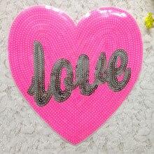 20pcs Любовь Сердце Куртка блеск патчи вышитые блестками патч для одежды мотоцикл нагрудный знак DIY Аппликации лоскутное