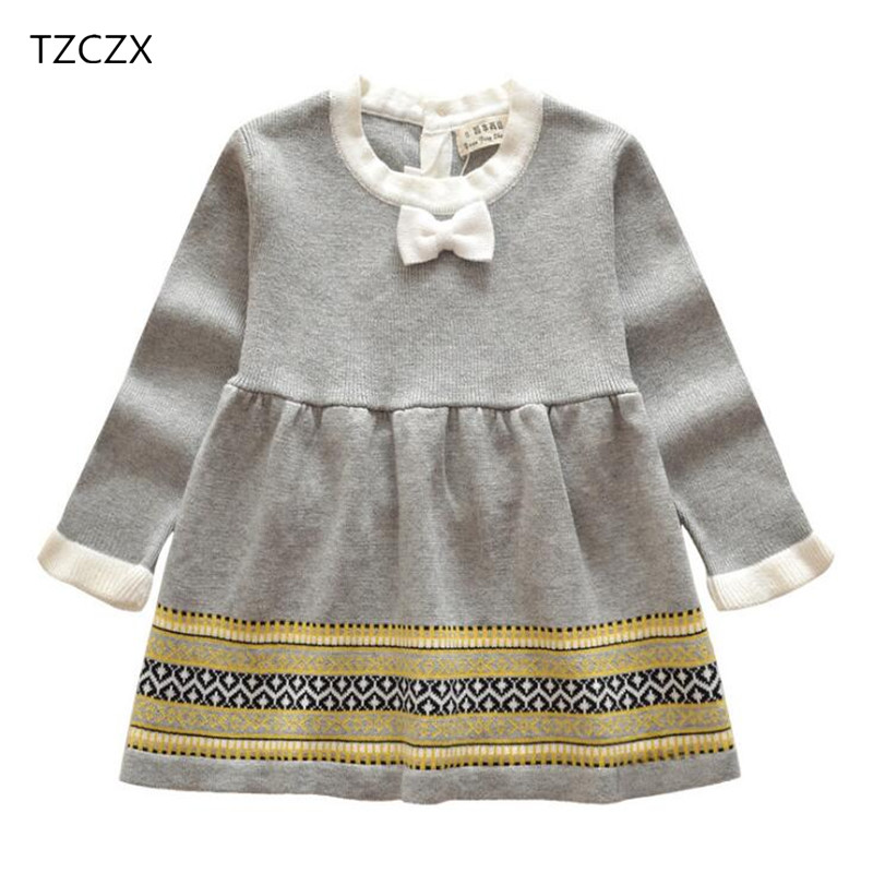 TZCZX-3525 New Spring Children Baby Girls Dress Cute Fashion Knit jacquard Sweater-dress For 6 Month to 3 Years Old Kids Wear
