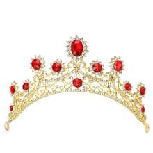 New Bridal Wedding Gold Red Rhinestone Hair Tiara Headband Crown Hair Accessories