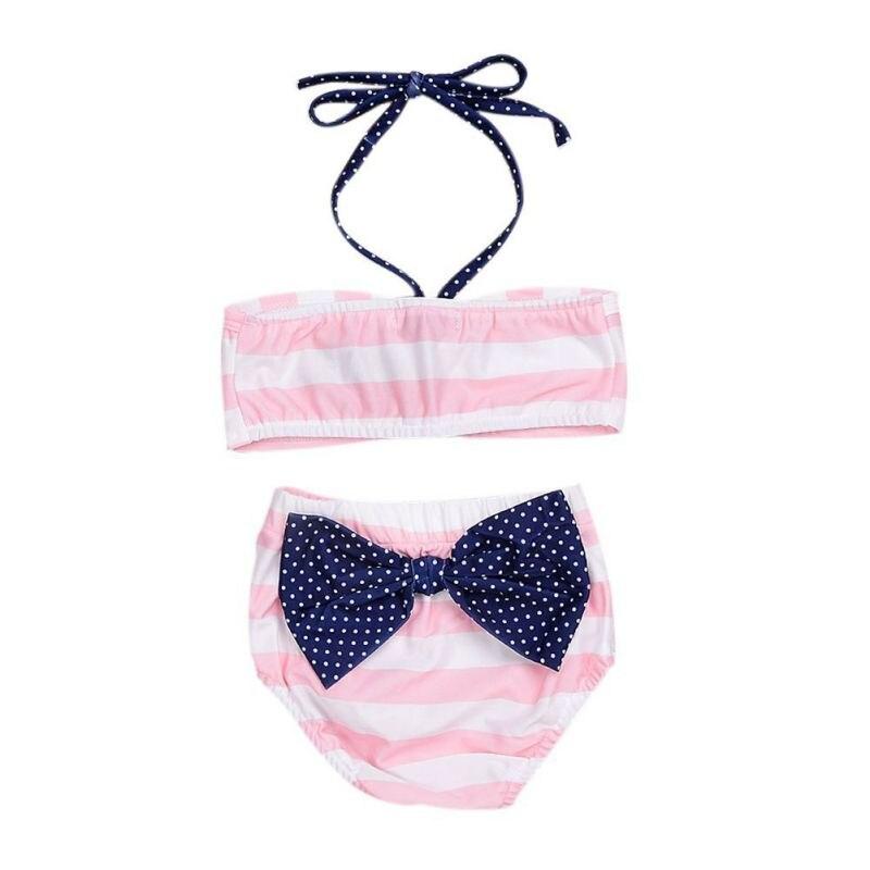 Dziewczynek stroje kąpielowe ubrania zestawy różowy pasiasty - Ubrania dziecięce - Zdjęcie 3