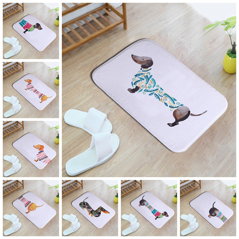 Nette cartoon aquarell dackel 40*60 cm Eingang Indoor Korallen Fleece Nicht-slip Boden Matte Fußmatte