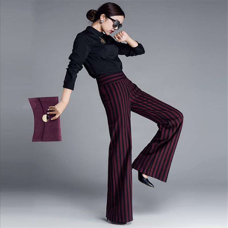 New Brand Women   Wide     Leg     Pants   Strip Retro Style Casual Loose High Quality Female Solid   Wide     Leg     Pants   For Office Ladies A3707