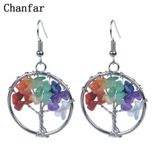 Chanfar Beautiful Design Bohemian Dangle Drop Earrings Chip Crystal Natural Stone Earrings Women Jewelry Hot Sell