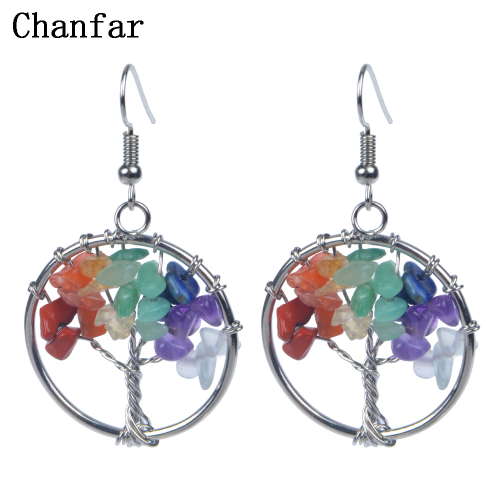 Chanfar Beautiful Design Earrings Bohemian Dangle Drop Chip font b Crystal b font Natural Stone Earrings