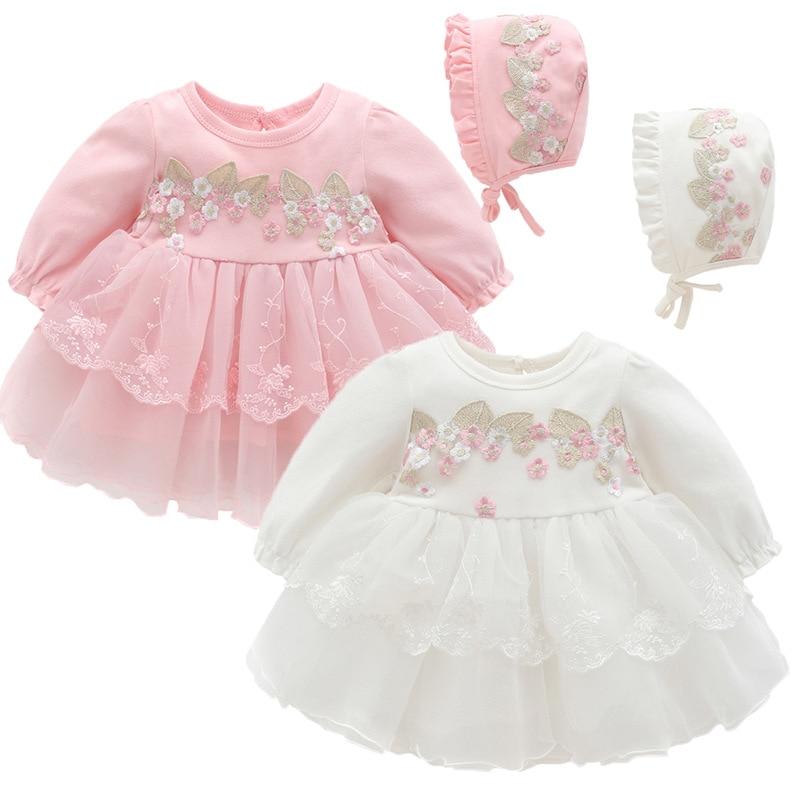 Ropa de encaje bordado para bebé, vestido de bautismo para recién nacido, vestidos de bautizo de fiesta con sombrero de 0 a 12M, rosa y blanco
