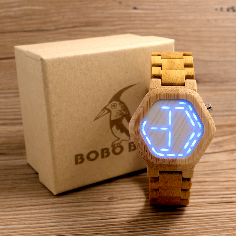 BOBO BIRD LED Bamboo Wood Watches Digitale Watch Mænd Kisai Night Vision Kalender Armbåndsur til mænd Minimal Time Display C-eE03
