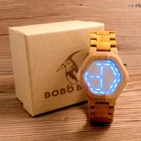 relogio BOBO BIRD LED Wood Men's Watches Digital Watch Men Night Vision Calendar Quartz Wristwatch Minimal Time Display C eE03