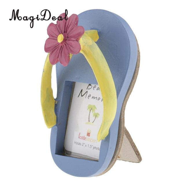 Summer Beach Flower Slipper Flip Flops Resin Picture Photo Frame Birthday  Party Table Place Card Home Table Decorations 5 x 10cm 950141a68c93