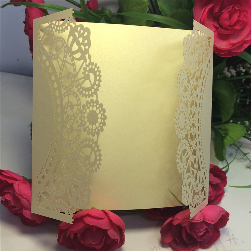 laser cut lace flower wedding invitations cards party