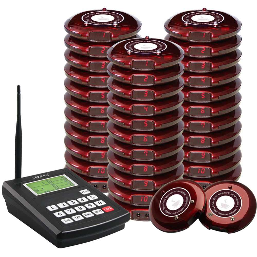Singcall bahn paging-system, drahtlose paging-queuing system restaurant anruf pager, 1 sender mit 30 coaster pager