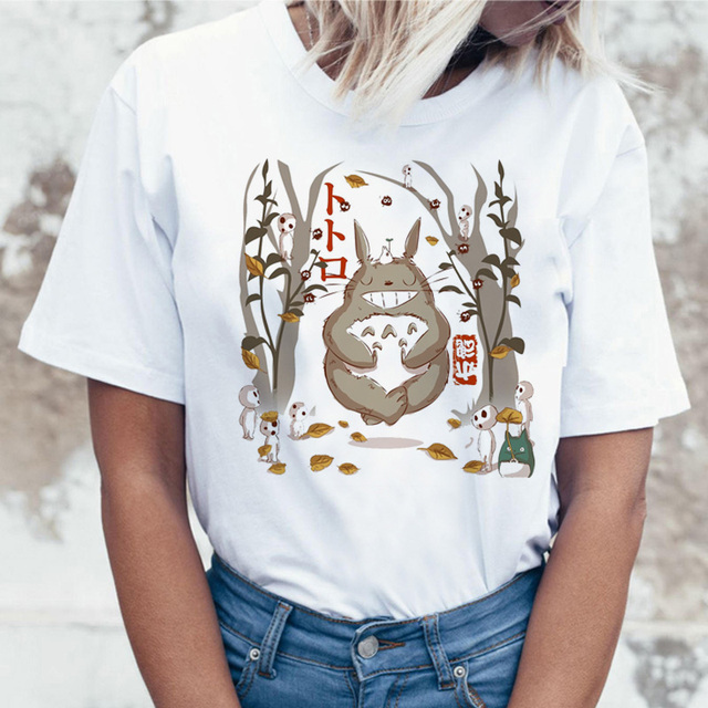 Totoro t-shirt femmes top t-shirts t-shirt tshirt style coréen kawaii 90 s Graphique harajuku mode féminine ulzzang décontracté