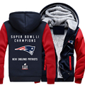 Super Bowl Li Champion! Patriots Foot-ball Team Thicken Zipper Hoodie Jacket Clothing Casual Coat