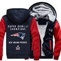 Super Bowl Li Campeón! patriotas de foot-ball team clothing espesar chaqueta con capucha capa ocasional
