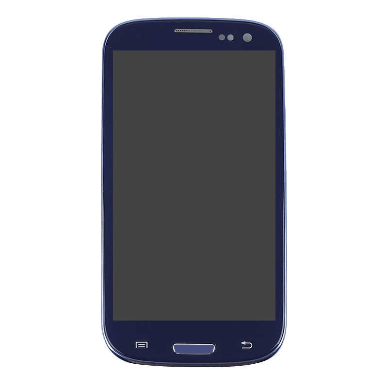 I9300 عرض لسامسونج غالاكسي S3 i9300 شاشة الكريستال السائل محول الأرقام بشاشة تعمل بلمس إطار الجمعية الاستبدال عرض S3 i9300