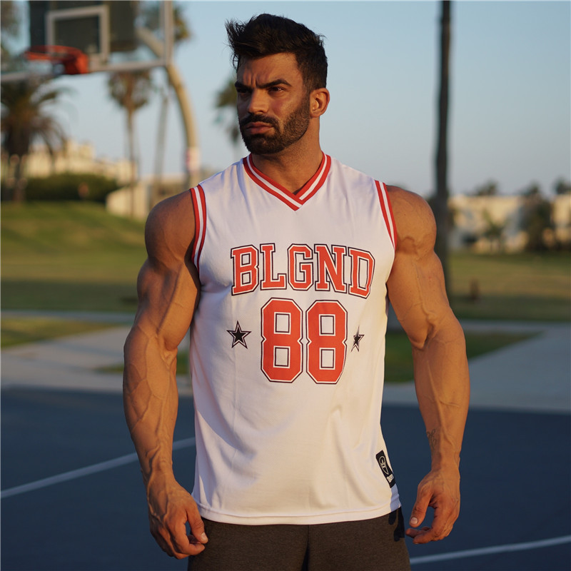 באיכות גבוהה Mens כדורסל ג 'רזי Mesh שרוולים כדורסל T חולצת ספורט כושר כושר ספורט חולצות מהיר יבש חולצה סל