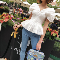 2018 Summer New Temperament Slim Waist White Black Shirt Puff Sleeve Strapless Tops Women