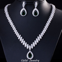 Cwwzans موضة مجوهرات حفلات الزفاف قطرة الماء الأزرق الداكن فضي اللون الزفاف كريستال قلادة طقم أقراط للنساء T213