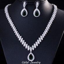 Cwwzircons Fashion Wedding Party Sieraden Water Drop Donkerblauw Zilveren Kleur Bridal Kristal Ketting Earring Sets Voor Vrouwen T213