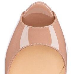 GENSHUO 14CM Heels Brand Shoes Women Platform High Heels Pumps Peep Toe Leather Red Wedding Shoes High Heels Big Size 4243 44 45 6