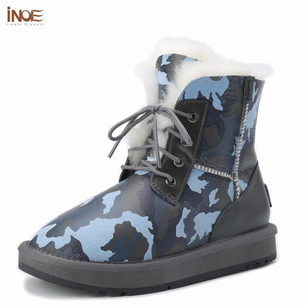 9ae62cff INOE зимние сапоги из овчины натуральная овечья кожа овечий мех женские  зимние ботильоны зимняя обувь на