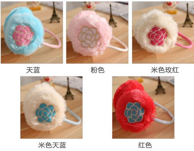 The New Lady Rose Soft Plush Earmuffs Embroidery Ladies Warm Earmuffs
