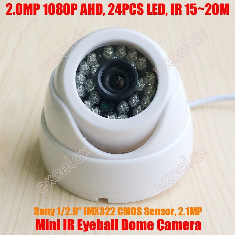 Sony IMX323 CMOS 1080P 2MP Megapixel AHD IR Eyeball Dome Camera 24PCS LED 15m IR CUT