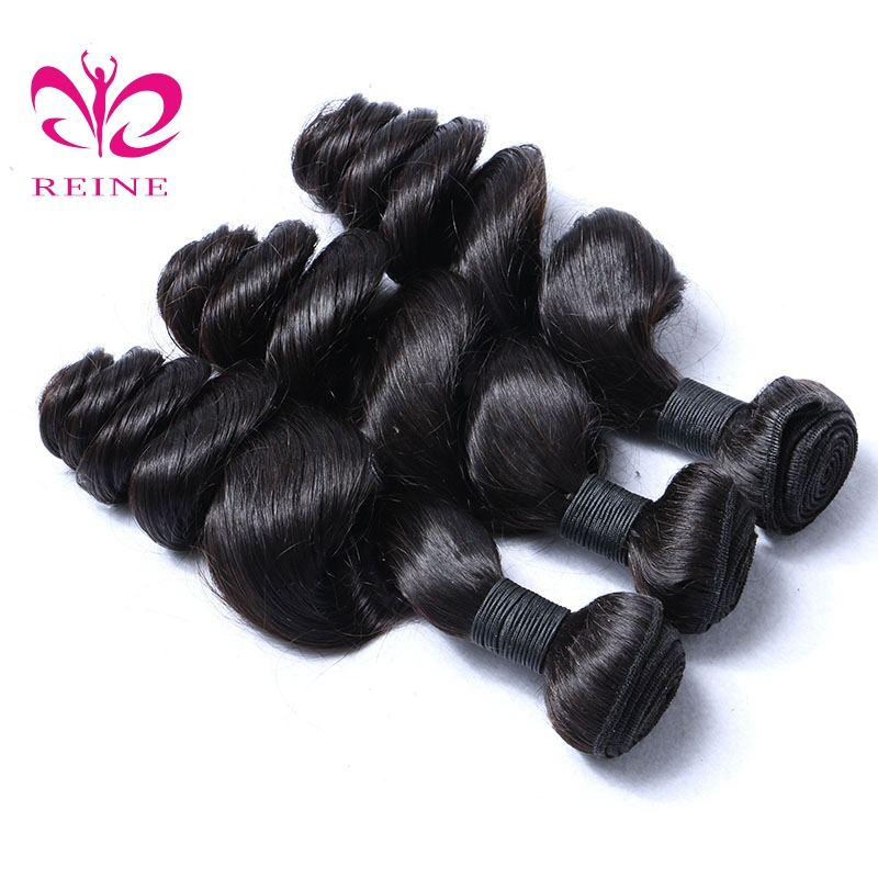 REINE Brazilian Loose Wave Bundles 100% Human Hair Weave Natural Color Can Buy 3 Or 4 pcs Non-remy Hair Extension