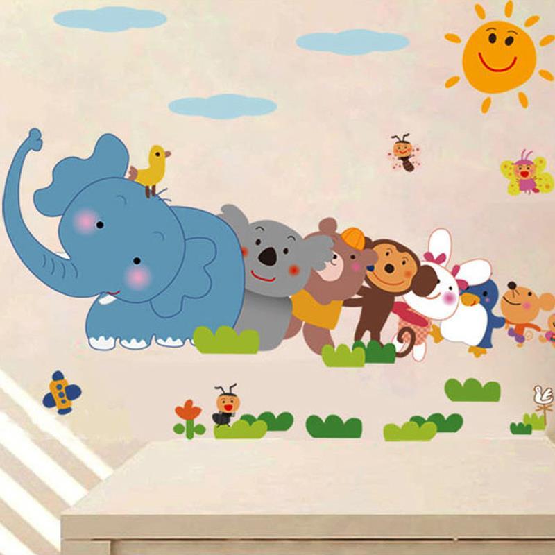 Kids Zoo Animal Wall Sticker Safari Animal Stickers Elephant - Zoo animal wall decals