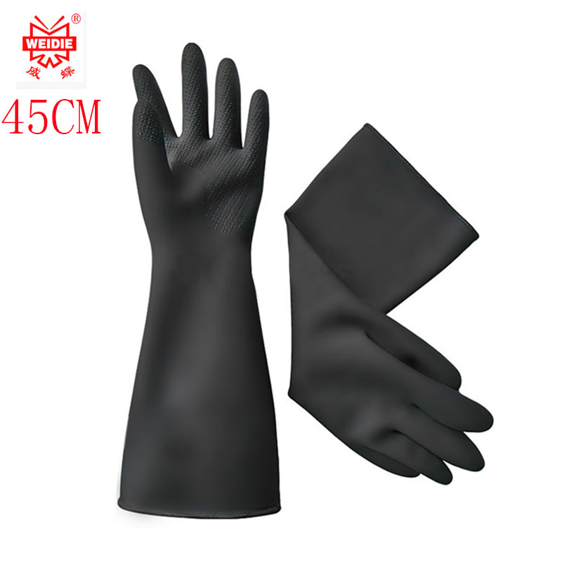 45CM White / Black Gloves Latex High Quality Wearable Oil Resistant Protective Gloves Cleaning Acid And Alkali Safety Glove